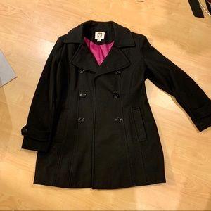 Anne Klein Black Wool Peacoat Trench Coat